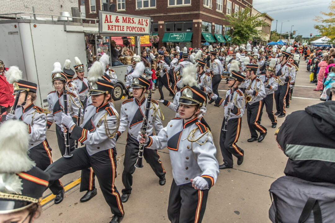 The 30th Annual International Fall Festival spread across downtown Eau Claire's Barstow Street on Saturday, Sept. 29. The festival places an emphasis on Eau Claire's international culture, language, food, and music. The Elk Mound High School Marching Band (above) was part of the annual parade.
