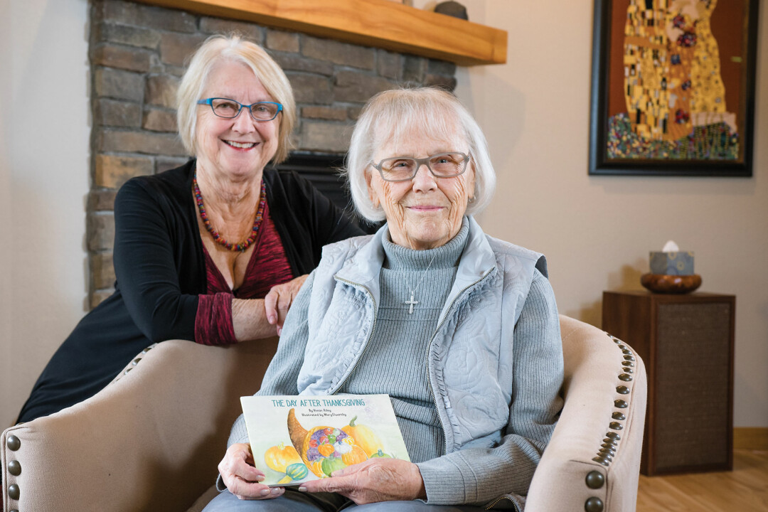 FAMILY FEAST. Vivian Riley, right, and her niece, Mary Elworthy, collaborated in to illustrate and write a new book, The Day After Thanksgiving.