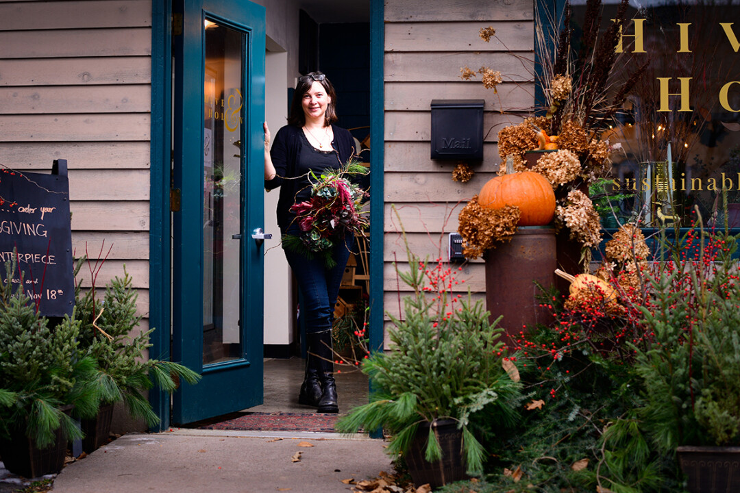 OPENING THE DOOR ON A GROWING OPERATION. Sarah Lambert Freeman opened Hive & Hollow in Menomonie this past September. An eclectic flower, plant, and decor shop, Hive & Hollow focuses on sustainable practices.