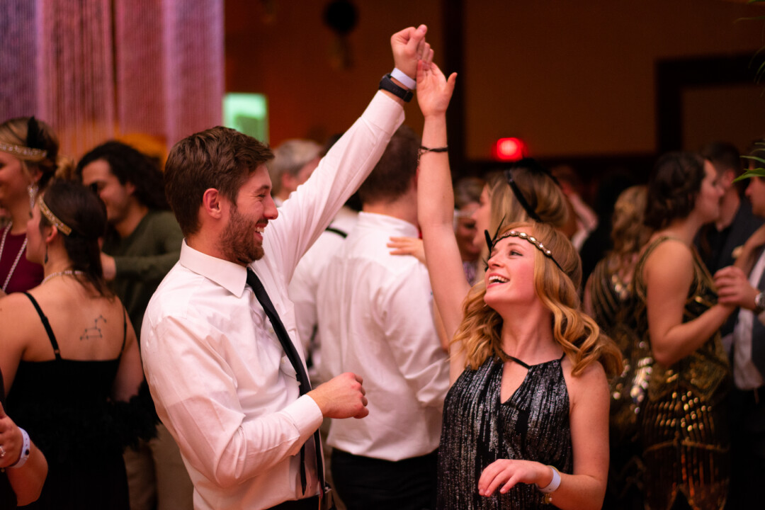 THROW YOUR HANDS UP FOR THE TWENTIES. The fifth installment of the Gatsby's Gala took place throughout UW-Eau Claire's Davies Center on Friday, Nov. 9. The Gala is a 1920's themed party with UWEC's jazz ensembles providing the soundtrack for dancing, costumes, food, and more.