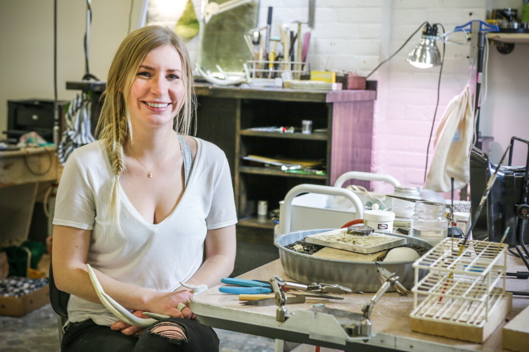 THAT'S SO METAL. UW-Stout graduate Andrea White opened her jewelry studio, Salt Collective, in Eau Claire's Banbury Place last winter. The shop focusing on minimal designs using precious metals and ... deer antlers.