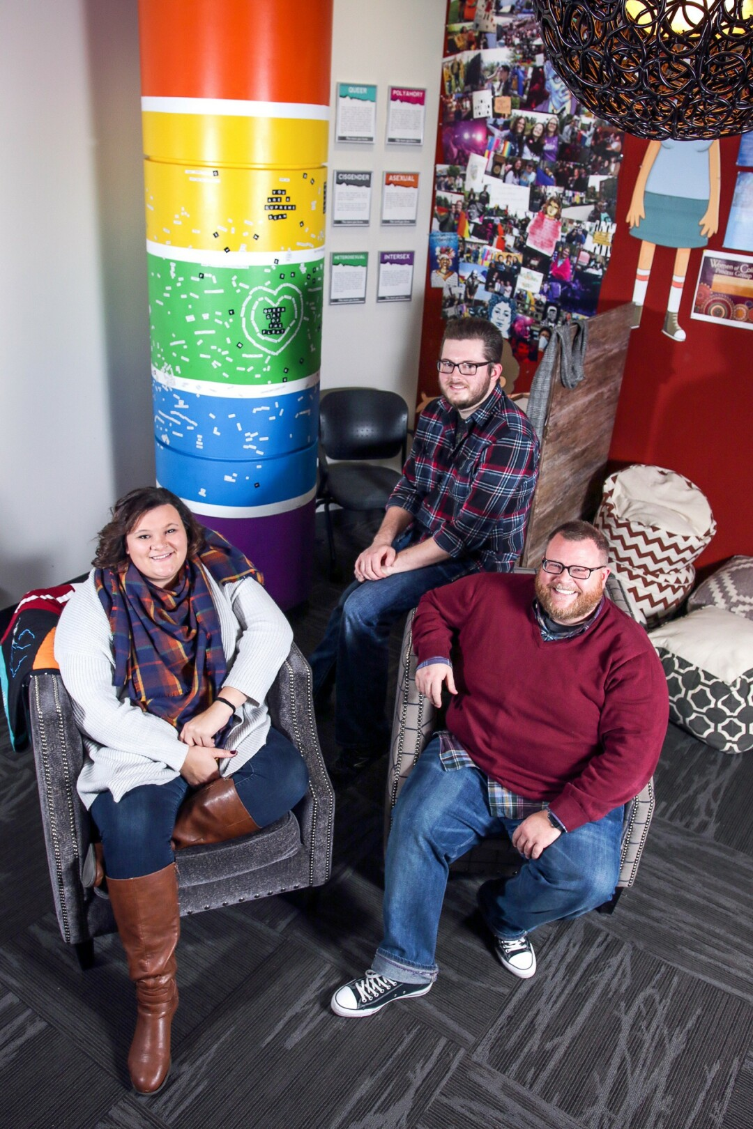 (Left to Right) Graduate Assistant Kallie Friede, Student Intern Jacob Noren, and GSRC Director Chris Jorgenson.