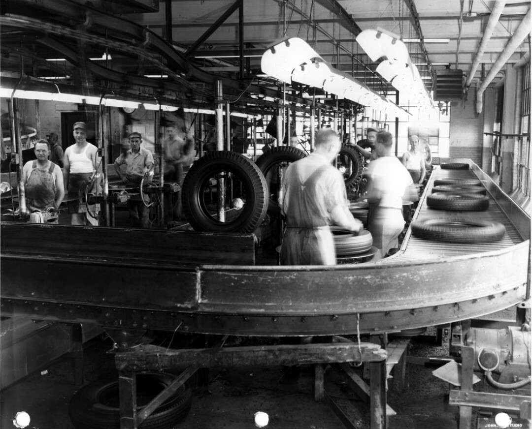 Workers on the inspection line at what was then called the U.S. Rubber Co. plant in Eau Claire in August 1947. Known variously as the Gillette, U.S. Rubber, and Uniroyal Goodrich plant, the factory produced tires from 1917 to 1992.
