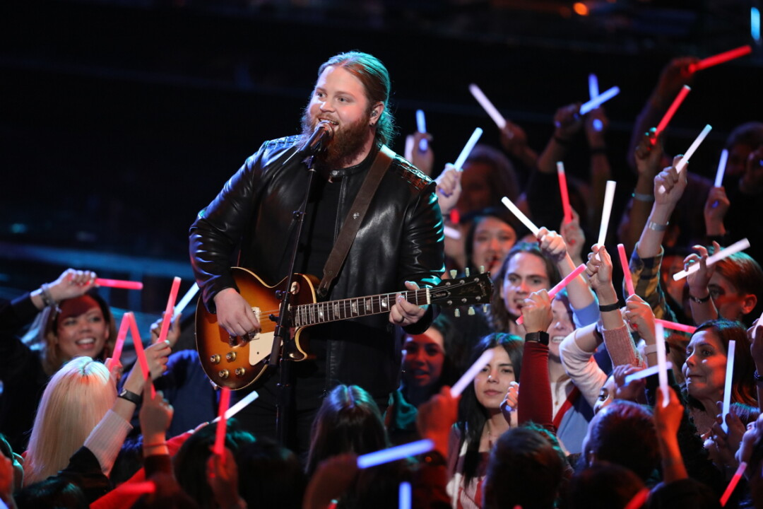 HE'S GOT A VOICE. Barron native Chris Kroeze performs on the live finale of NBC's The Voice on Dec. 17.