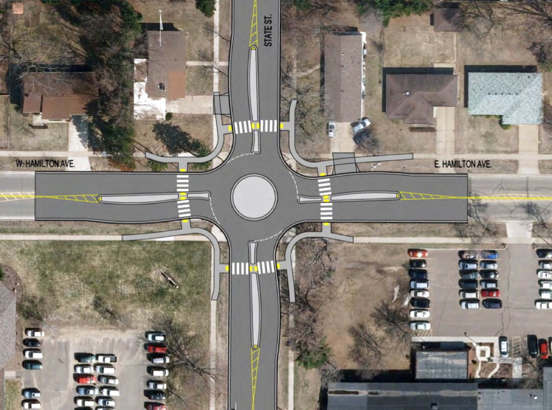The roundabout planned for the intersection of State Street and Hamilton Avenue in Putnam Heights.