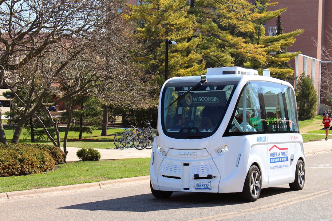 ALL HAIL ROBO-BUS! An autonomous shuttle bus was tested on the UW-Madison campus in April 2018.