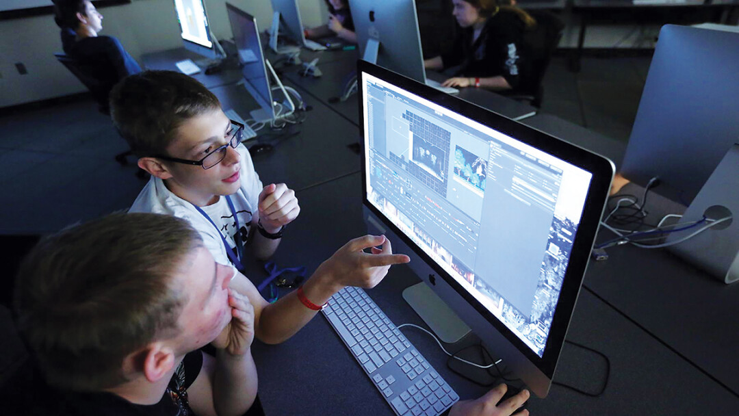 FULL STEAM AHEAD! Students edit video as part of the UW-Stout Summer STEAM experience camp.