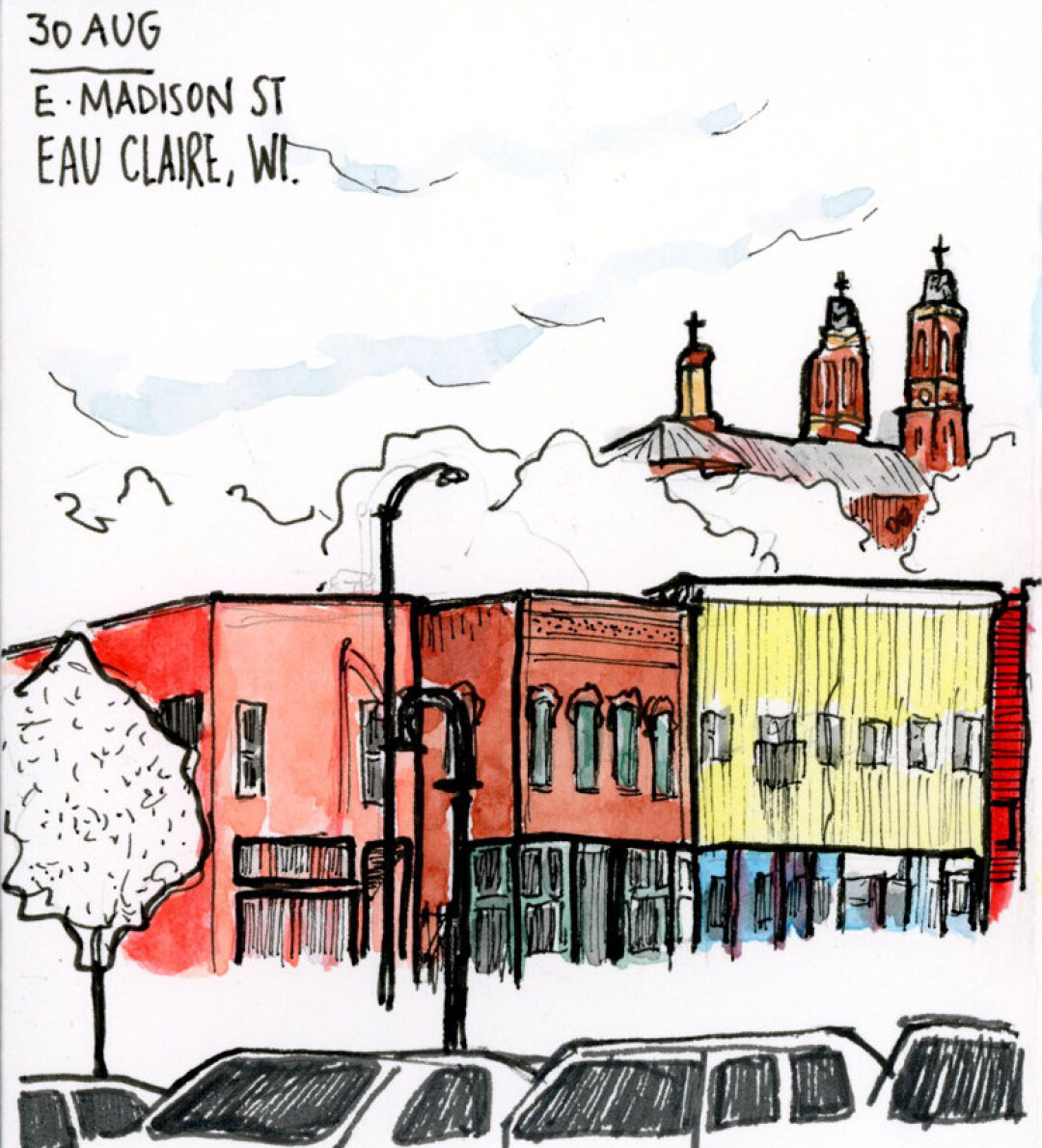 "SNEAKING AROUND DOWNTOWN. Artist Nishant Jain has created numerous ""Sneaky Art"" pen-and-ink sketches of Eau Claire people and scenes. Now he's compiled them in a book, Sneaky Art of Eau Claire."