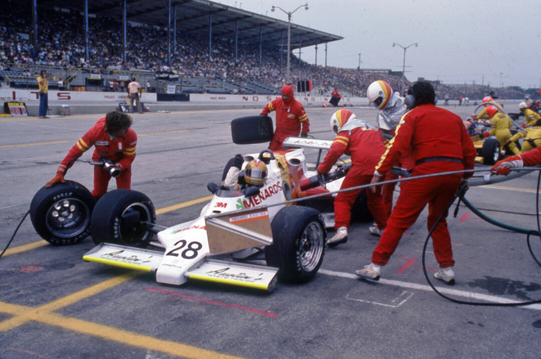 Drive Herm Johnson of Eau Claire and the Menards pit crew at the 1982 Indianapolis 500. (Photo by Steve Johnson)