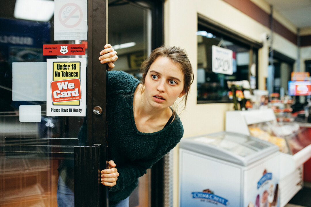 BLOODY GREAT. Behind the scenes of Punch Me, a film directed by Tim Schwagel where two girls (poorly) rob a gas station. The film will be part of the Lost Boy Pictures Shorts Program on Sept. 5 and 6 at Micon Cinemas.