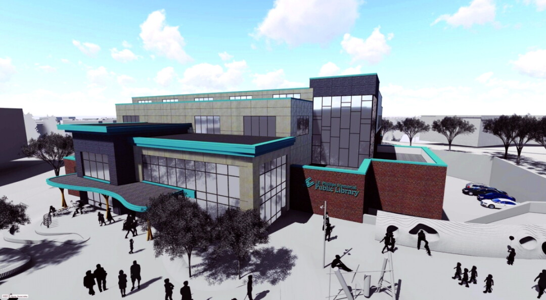 TAKE A LOOK, IT'S IN A BOOK. An artist's rendering of possible renovations to the L.E. Phillips Memorial Public Library, including a third floor and an expanded front atrium.