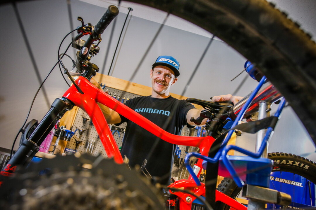 A WHEELIE GOOD IDEA. Nic Barry, former manager and repairperson at Eau Claire Bike and Sport, is opening Stache Bike & Adventure this month in Eau Claire.