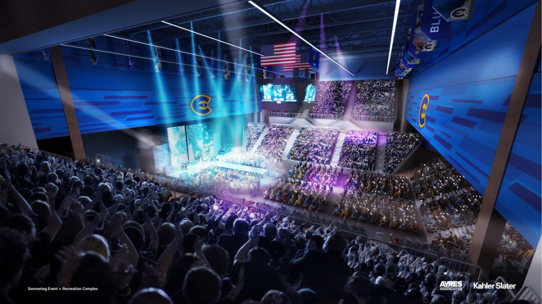 This artist's rendering shows a concert at the proposed Sonnentag Center, which UW-Eau Claire intends to build to replaceme Zorn Arena. Visit Eau Claire and the City of Eau Claire are exploring how the community can partner with UWEC to increase the facility's size to accommodate more large-scale events. (Image: UWEC / Ayres Associates + Kahler Slater)