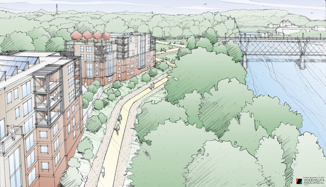 This bird's-eye artist's rendering shows The Heights, a proposed residential development on the north end of the Cannery District. The High Bridge over the Chippewa River is in the background.