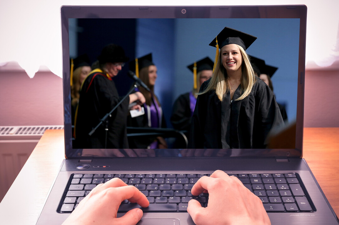 UW-Stout's spring commencement will be an all-virtual affair this year. (Photo illustration by Volume One staff)
