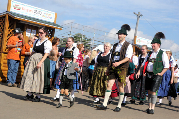 Dirndls and Lederhosen on full display at a previous Oktoberfest in Chippewa Falls.