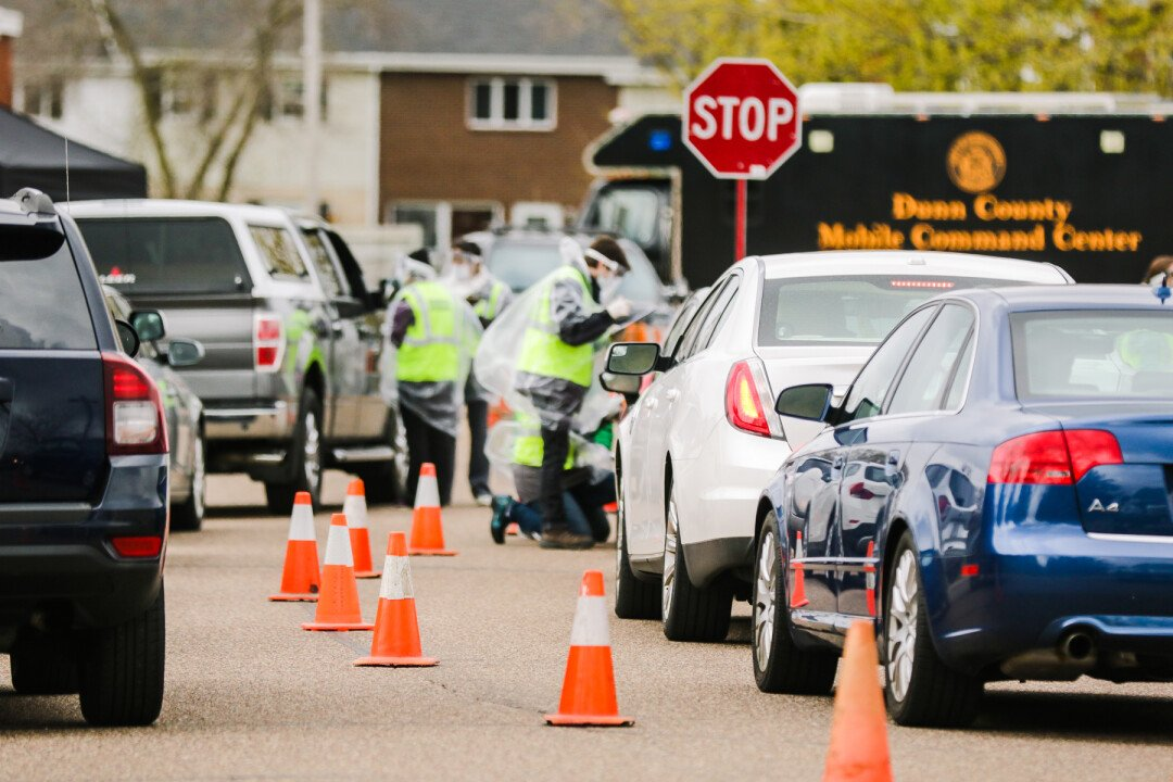 A drive-through COVID-19 testing event in Eau Claire in May.