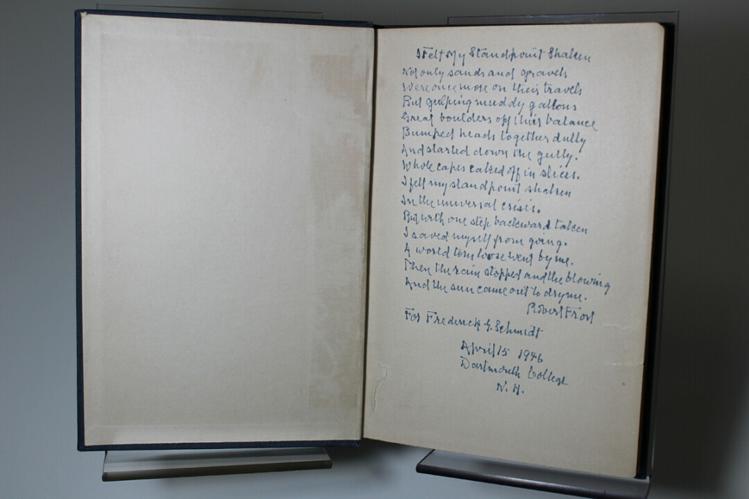 One of McIntyre Library's most prized possessions in their collection is their series of first-edition books by Robert Frost – many of which are signed by the famous poet himself! This one is Greg Kocken's favorite of the collection, Frost's third book, because it contains a much longer handwritten excerpt of poetry, and includes the date and location where Frost signed the book – a rarity in Frost's signature style, according to Kocken. Submitted photo.