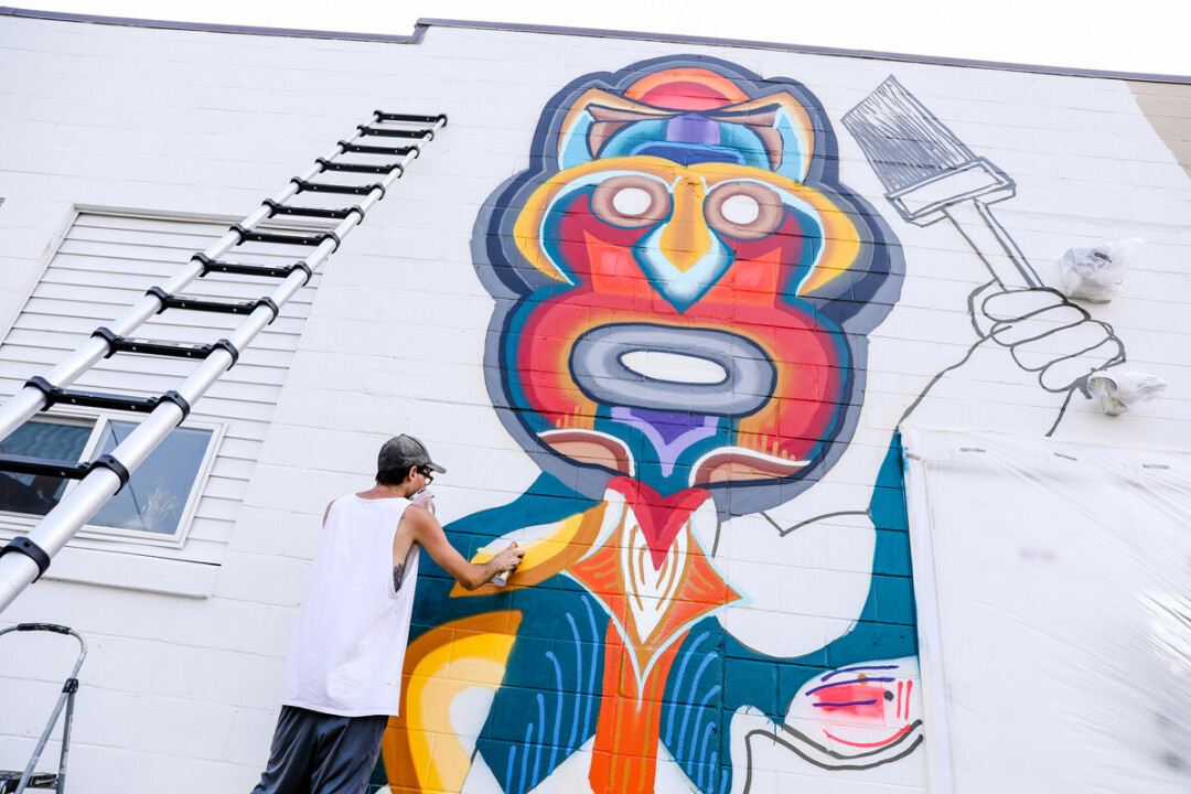 EMPOWERMENT THROUGH ART. Jaden Flores integrates his Mexican heritage and interest in Mayan design into his mural, which is located on the 600 block of Barstow Street in Eau Claire.