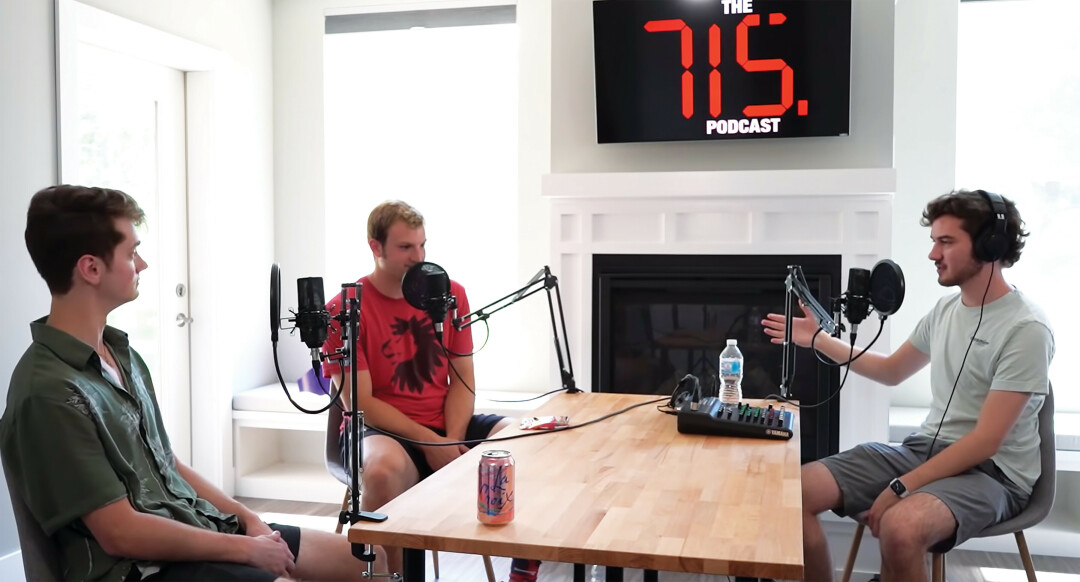 Jackson Sandler (right) and Grant Gerber (center) interview local musician Spencer Douglas on The 715 Podcast