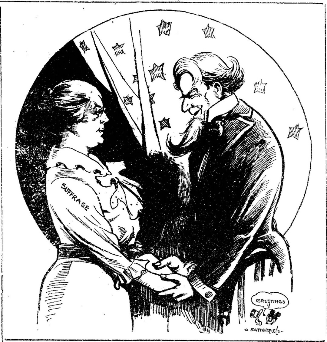 The Eau Claire Leader published this political cartoon after the final state needed ratified the nineteenth amendment. Eau Claire Leader. August, 1920.