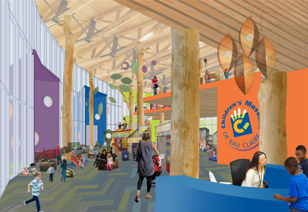 An interior rendering showing the vaulted ceiling of the new Children's Museum of Eau Claire. (Submitted image)