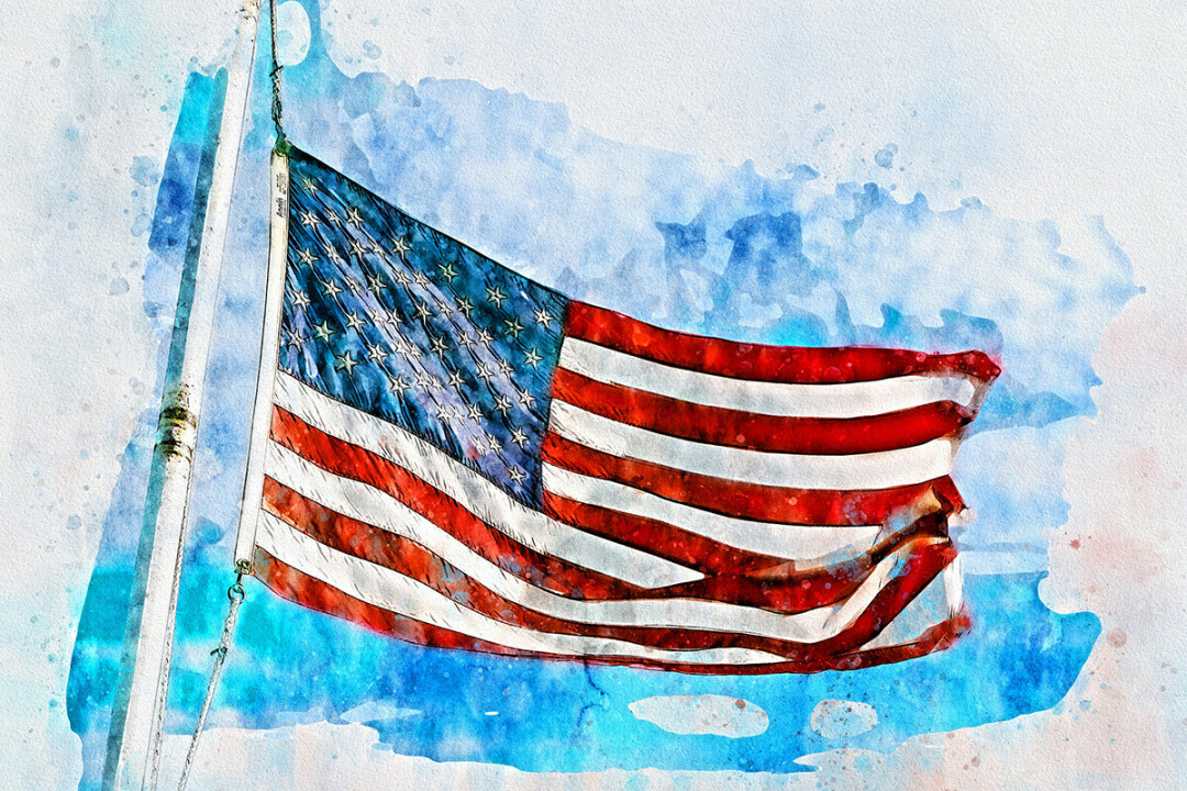 SHE'S A GRAND OLD FLAG. Old Glory in watercolor. (Source: Pixabay)