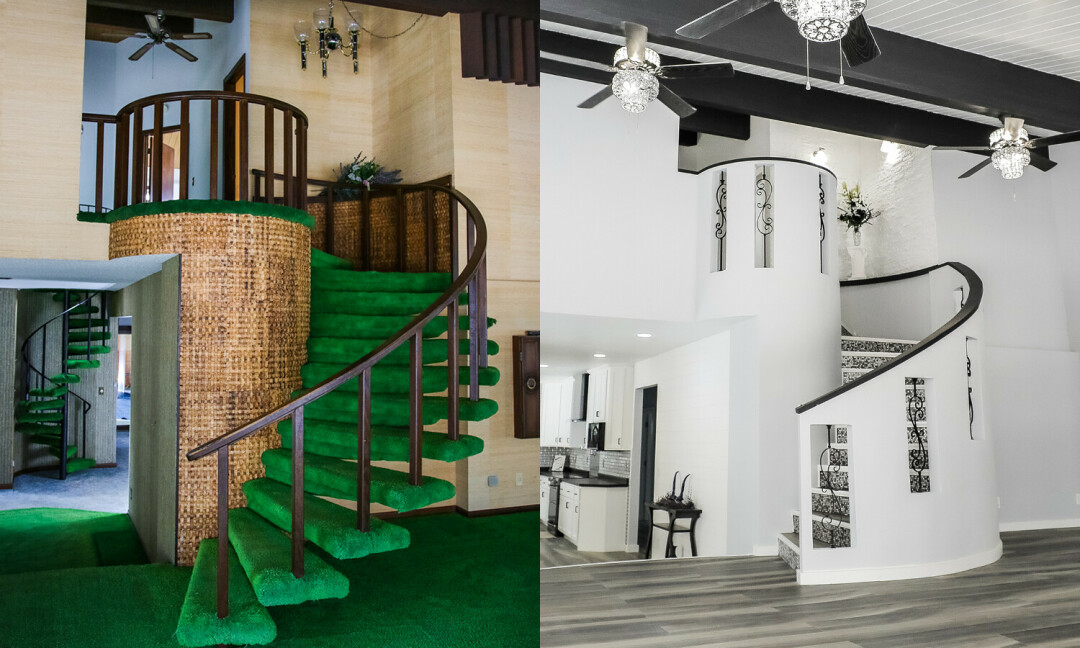 Before (left) and after (right) of the living room spiral staircase