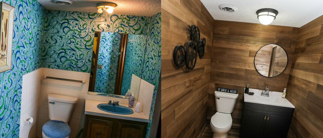 Before (left) and after (right) of the basement bathroom. The cedar planks on the walls of the renovated bathroom were taken from the exterior siding of the original house.