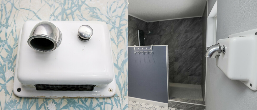 An electric hand dryer from the original Turf House (left) was preserved for the renovation (right) in the main floor bathroom.