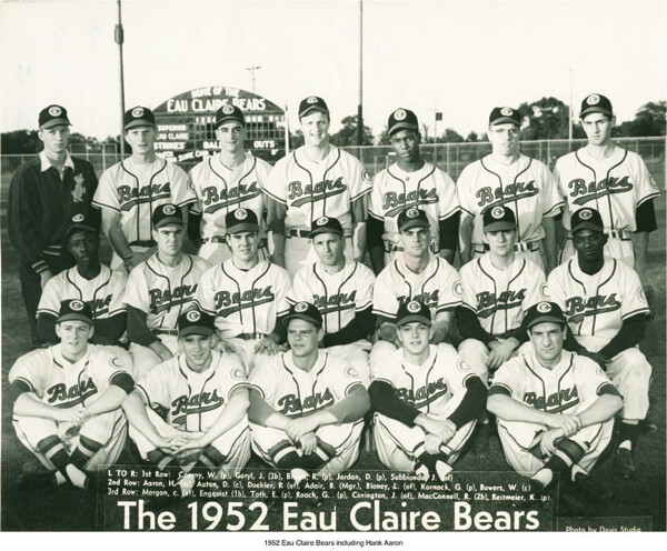 Hank Aaron is shown at far left in the second row of this Eau Claire Bears team photo from 1952.