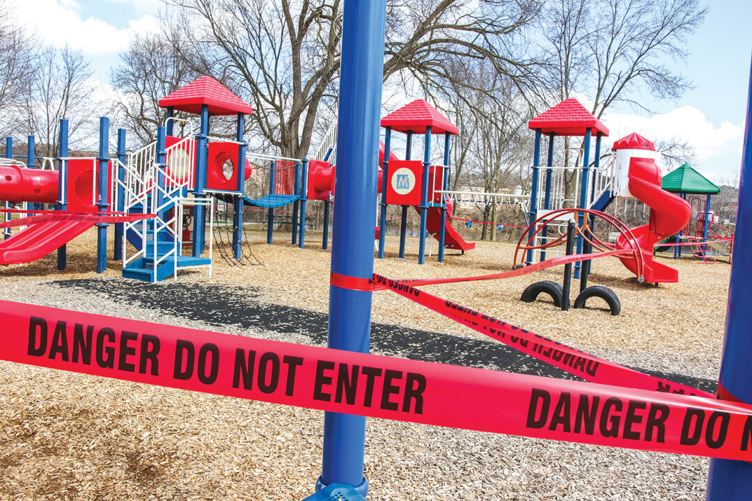 ONE YEAR LATER. Officials closed off equipment at Eau Claire's Owen Park after the pandemic began in March 2020.