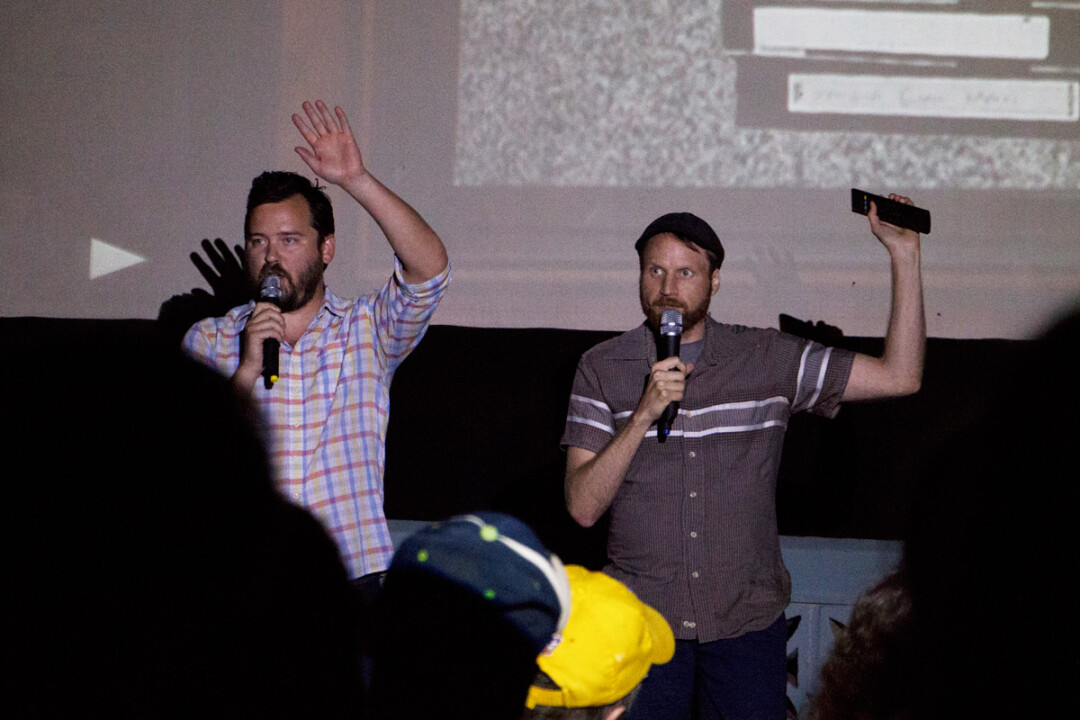 Nick Prueher, right, and co-host Joe Pickett present the Found Footage Festival at the Downtown Budget Cinema in Eau Claire. (File photo)