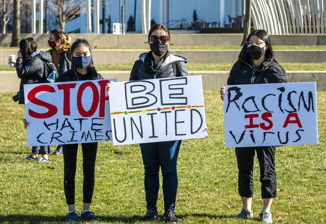 Hate crimes targeting Asian Americans nationwide have prompted demonstrations, including this one in Columnbus, Ohio, on March 20. (Photo by Paul Becker / CC BY 2.0)