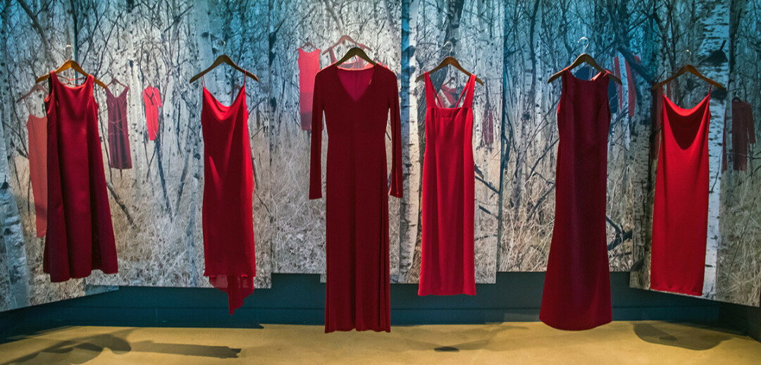 A Red Dress display in Winnipeg, Manitoba, in 2017. (Photo by Ted McGrath | CC BY-NC-SA 2.0)