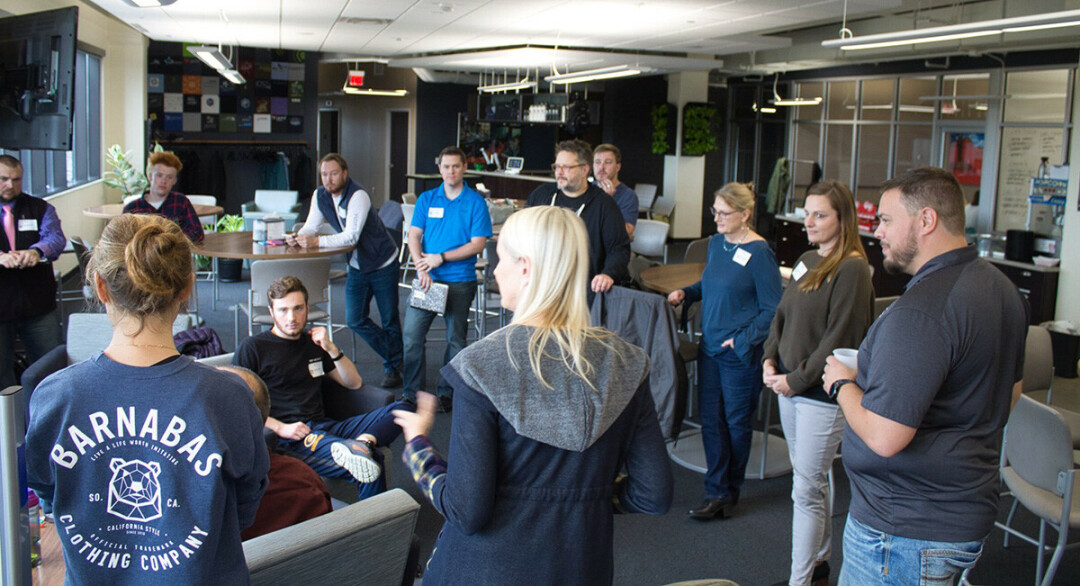 IF YOU START ME UP I'LL NEVER STOP. Participants and mentors meeting during Startup 48 in 2019, which was held at Jamf Software in Eau Claire. (Photo via Facebook)