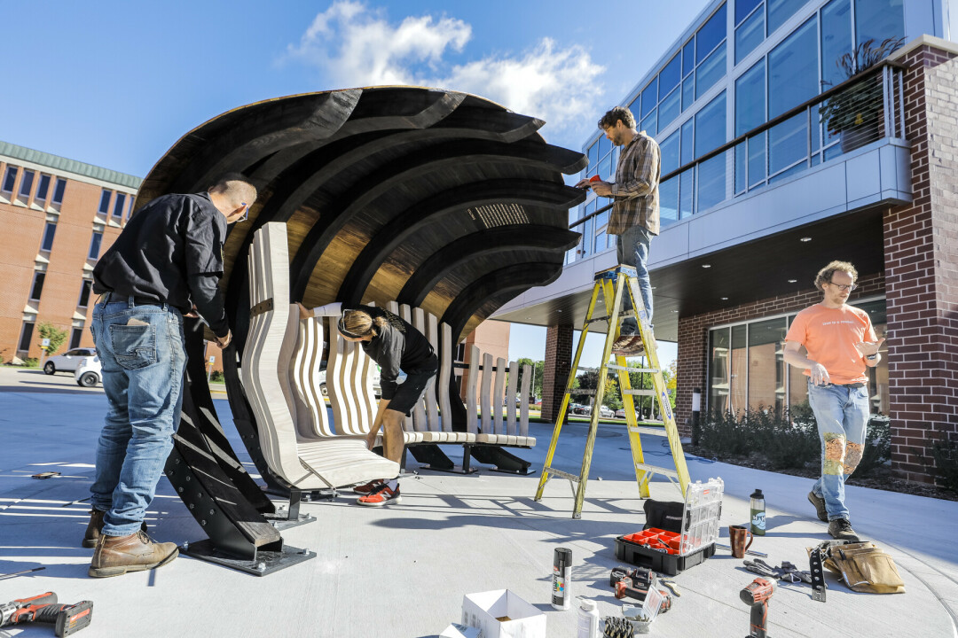 """""""Sanctuary"""" Pod Public Art Officially Installed at UWEC Campus"""