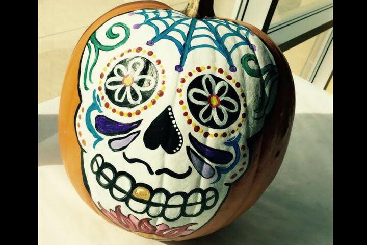 Sugar Skull Pumpkin Painting