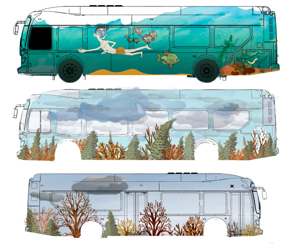 Two early sketches show the natural, sometimes playful art that could adorn Eau Claire's buses.