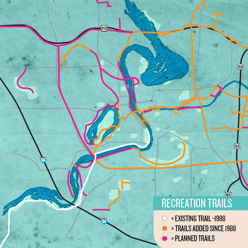 FUTURE FUN: Included are a loop around Half Moon Lake and significant new trails along the Chippewa River north of downtown. NOTE: This map shows only the multi-use recreational paths. It does not reflect on-street bike lanes or road routes. All path depictions are approximate.