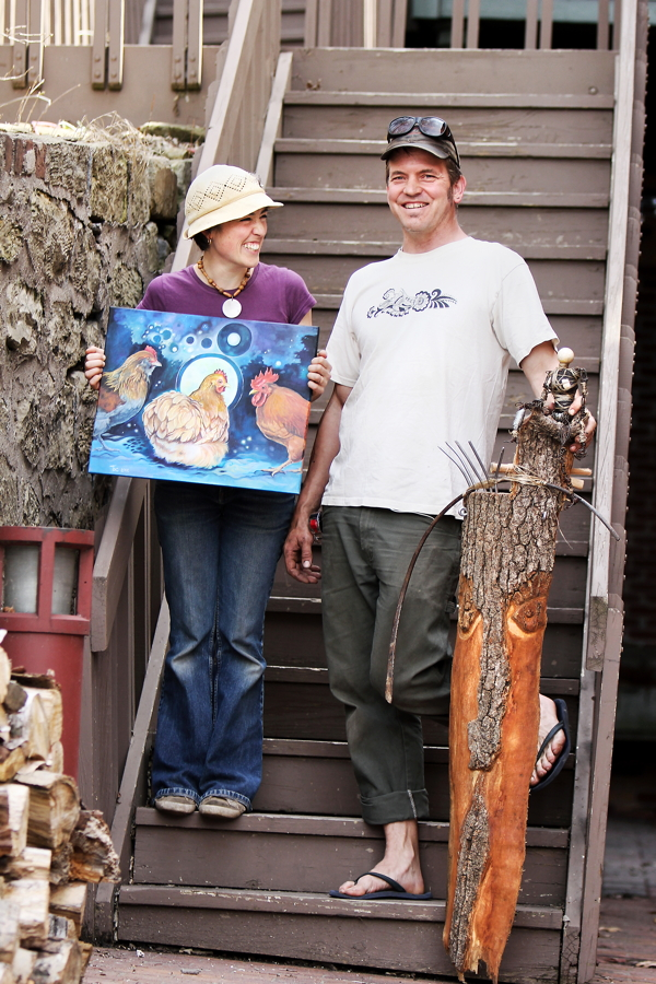 WHAT ARE YOU, CHICKEN? Brianna Capra and Brent Gonyea show off some of their creative creatures.