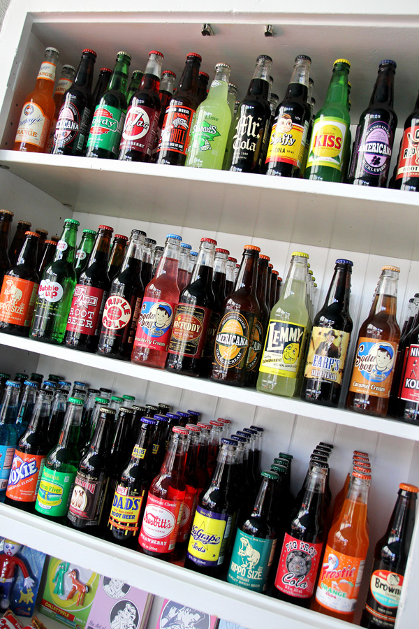 Gourmet sodas stocked on-site are just some of the eclectic offerings.
