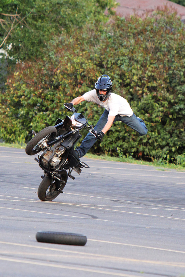 Kids, you wheelie shouldn't try this at home. On Friday, Aug. 23, a motorcycle stunt show was hosted by Midwest Mayhem Motorcycle Club and Wesleyan Church in Eau Claire.