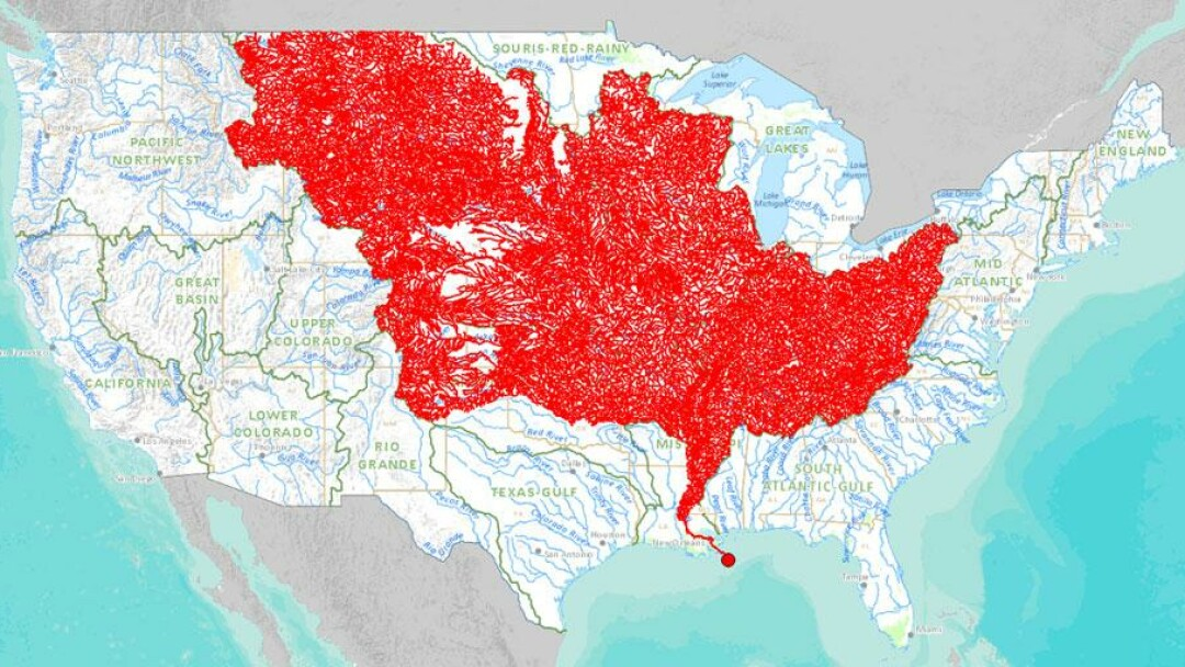 ABove: the 7,000 streams and rivers that empty into the mighty Mississippi. No wonder the Gulf of Mexico is so big.