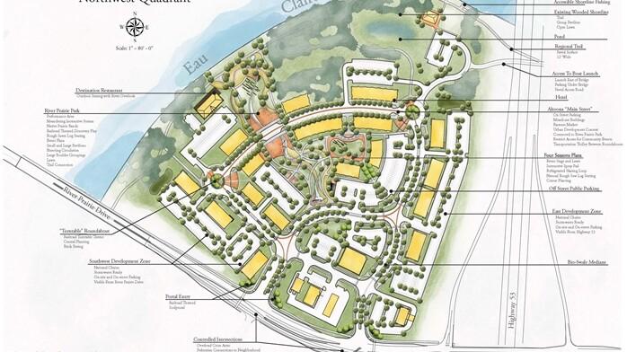 A conceptual drawing of the River Prairie development's northwest quadrant.