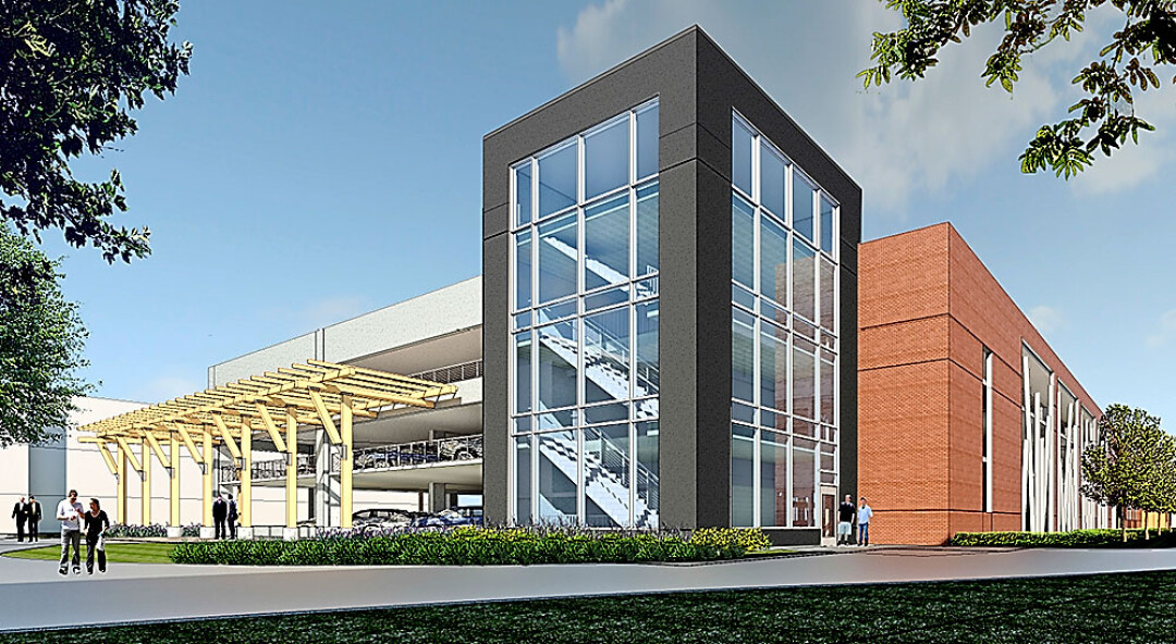 A conceptual drawing a four-level parking ramp from BWBR Architects.