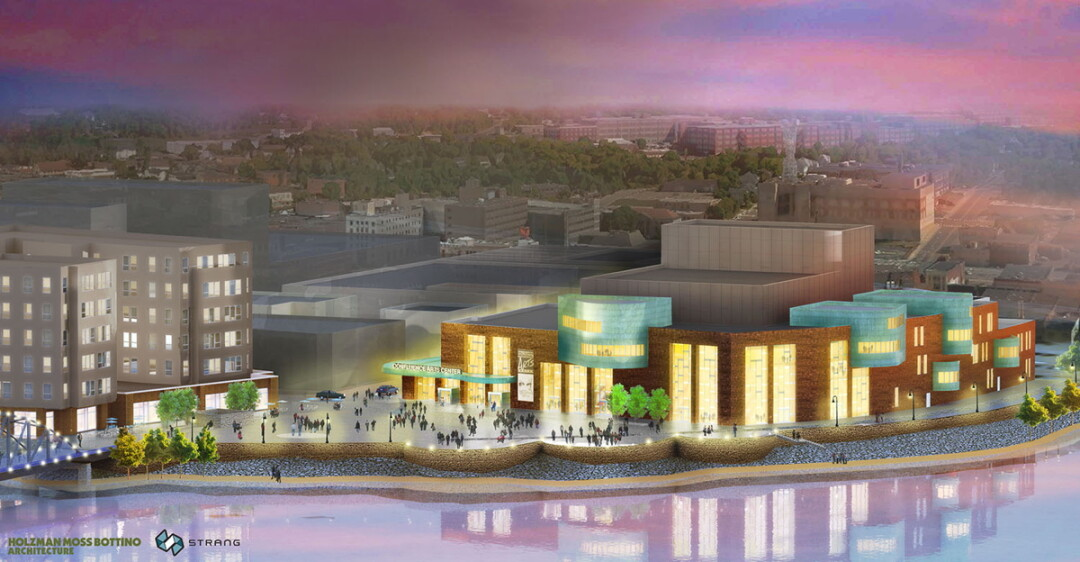 DOWN BY THE RIVERSIDE. The partners involved in the Confluence Project have unveiled this new rendering of the proposed arts center, created by Holzman Moss Bottino Architecture and Strang Architects. Click for a closer look!