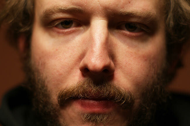 Justin Vernon's face, which produced vocals for Kanye West.
