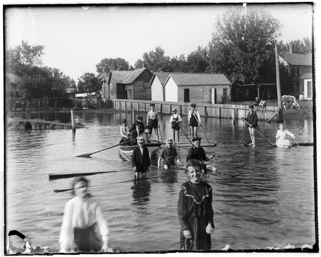 Among the photographs displayed in the exhibit Through Daniel's Eyes are the June 1905 image of children playing in floodwater