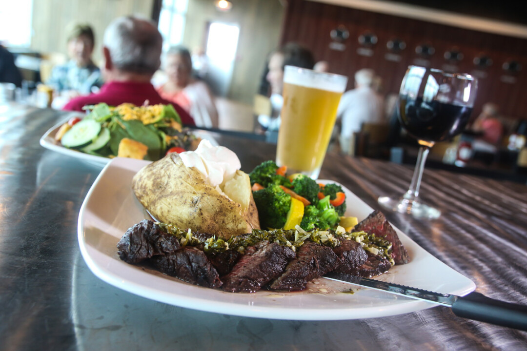 PERMISSION TO LAND IN MY BELLY GRANTED. The Hangar 54 Steak is among the specialties at Hangar 54 Grill.